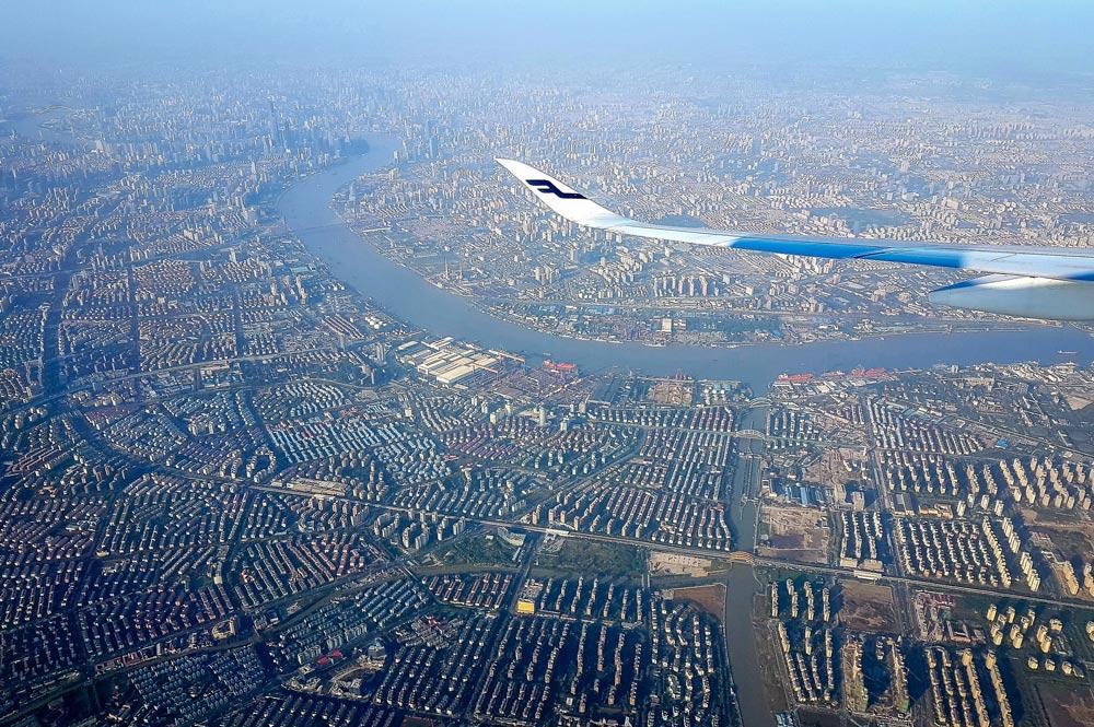Näkymä 24 miljoonan asukkaan Shanghaihin.